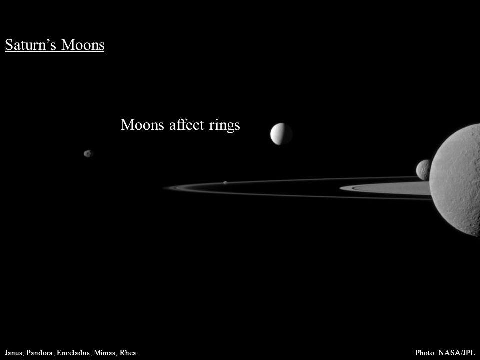 Saturn's Moons Moons affect rings Photo: NASA/JPLJanus, Pandora, Enceladus, Mimas, Rhea