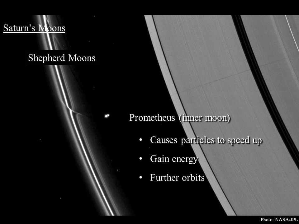 Saturn's Moons Shepherd Moons Prometheus (inner moon) Causes particles to speed up Causes particles to speed up Gain energy Gain energy Further orbits Photo: NASA/JPL