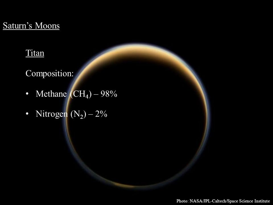 Saturn's Moons Titan Composition: Methane (CH 4 ) – 98% Nitrogen (N 2 ) – 2% Photo: NASA/JPL-Caltech/Space Science Institute