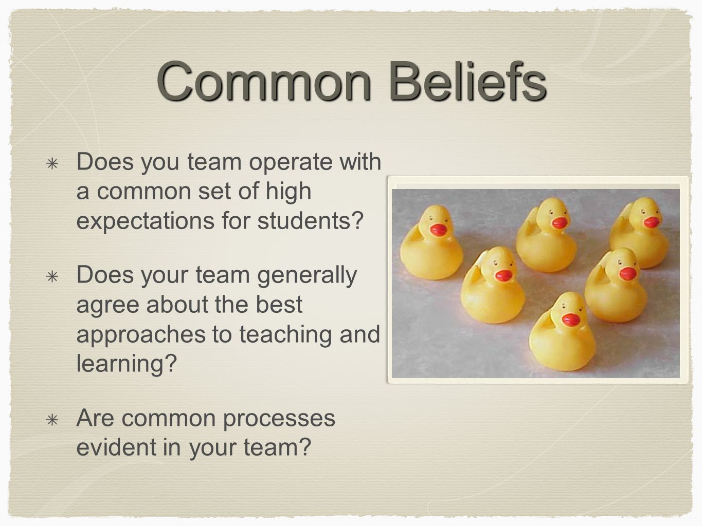 Common Beliefs Does you team operate with a common set of high expectations for students.