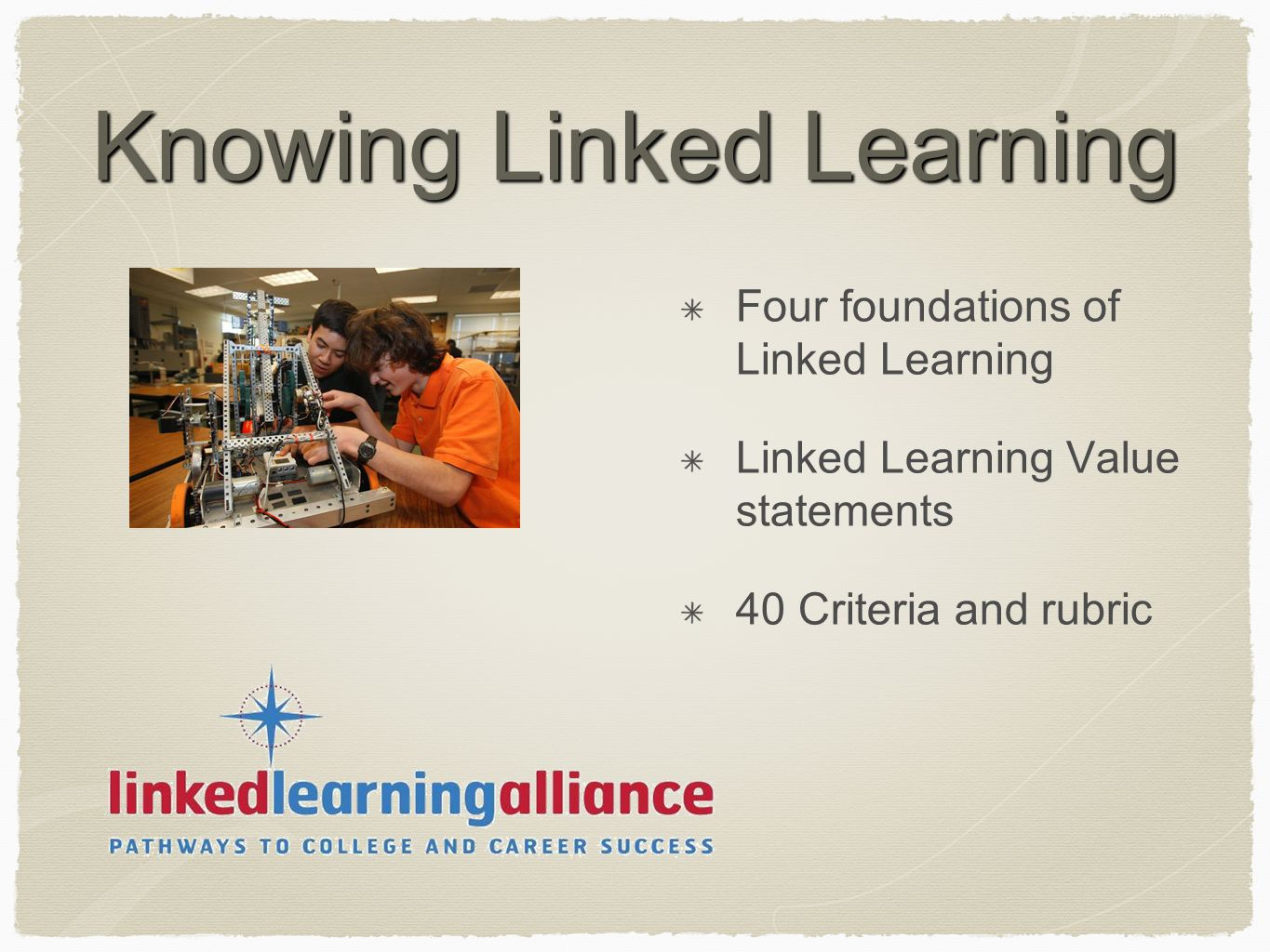 Knowing Linked Learning Four foundations of Linked Learning Linked Learning Value statements 40 Criteria and rubric