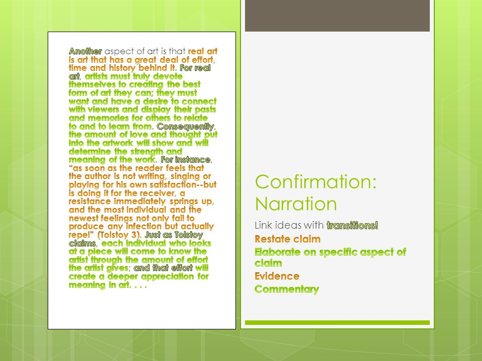 Confirmation: Narration