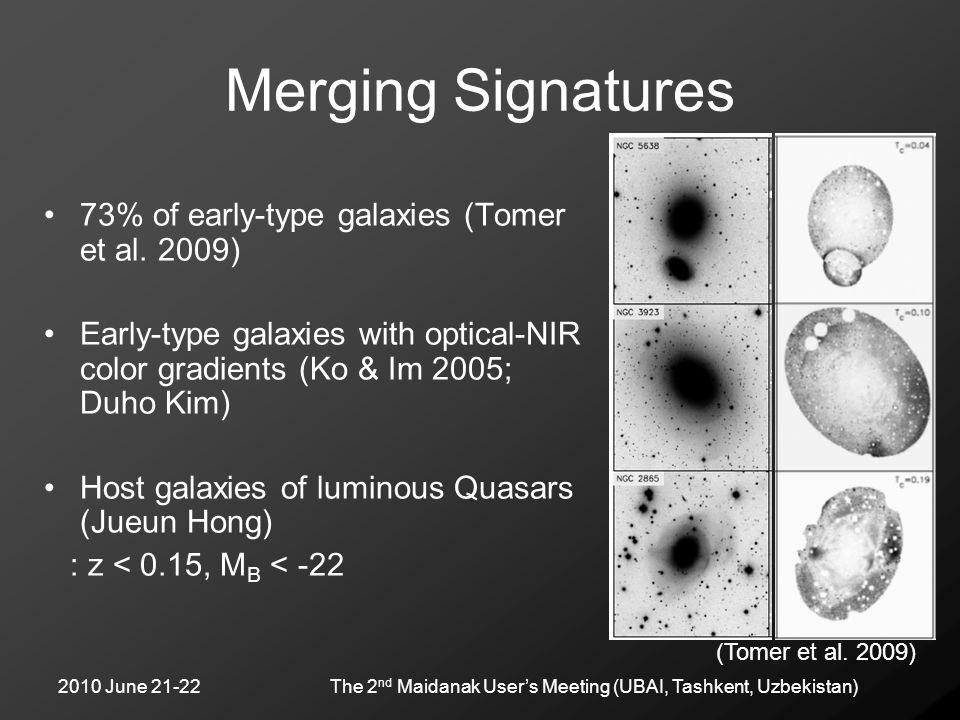 2010 June 21-22The 2 nd Maidanak User's Meeting (UBAI, Tashkent, Uzbekistan) Merging Signatures 73% of early-type galaxies (Tomer et al. 2009) Early-t