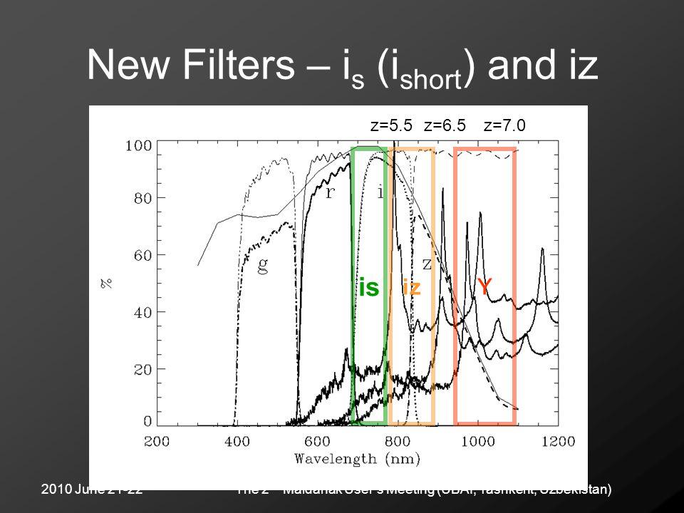 2010 June 21-22The 2 nd Maidanak User's Meeting (UBAI, Tashkent, Uzbekistan) New Filters – i s (i short ) and iz is Y z=5.5z=6.5z=7.0 iz