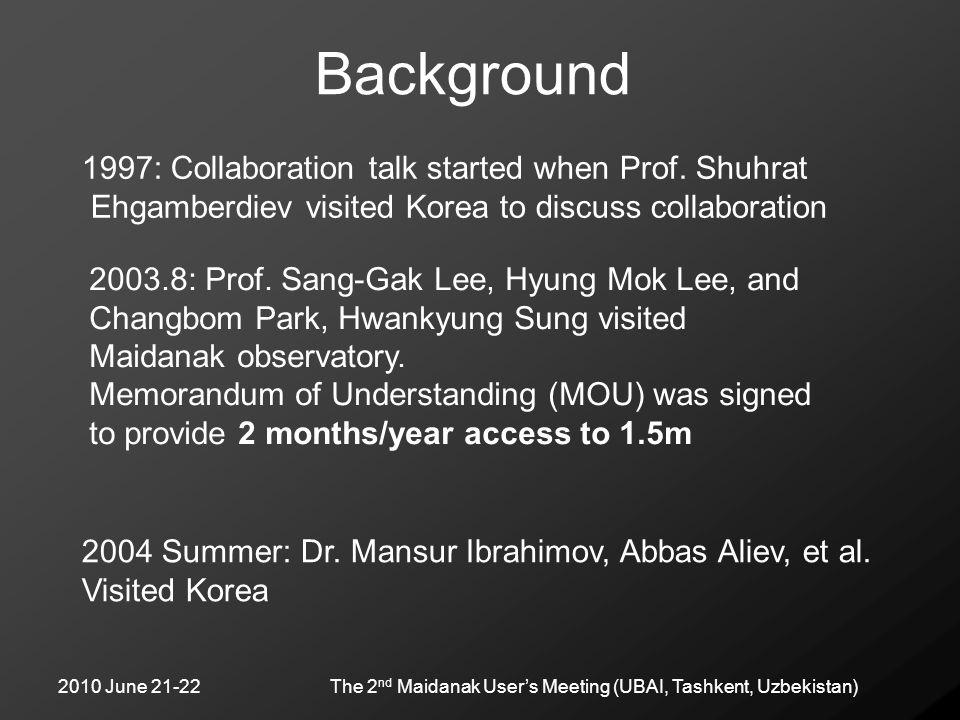 2010 June 21-22The 2 nd Maidanak User's Meeting (UBAI, Tashkent, Uzbekistan) Background 1997: Collaboration talk started when Prof. Shuhrat Ehgamberdi