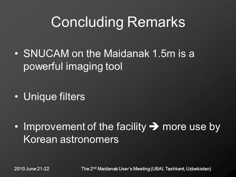 2010 June 21-22The 2 nd Maidanak User's Meeting (UBAI, Tashkent, Uzbekistan) Concluding Remarks SNUCAM on the Maidanak 1.5m is a powerful imaging tool