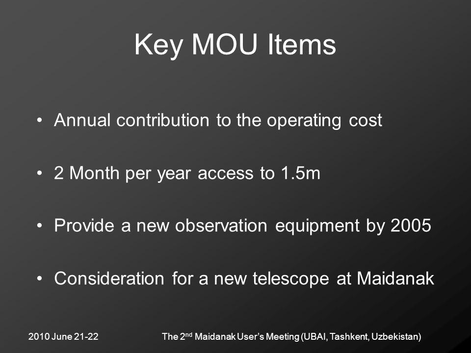 2010 June 21-22The 2 nd Maidanak User's Meeting (UBAI, Tashkent, Uzbekistan) Key MOU Items Annual contribution to the operating cost 2 Month per year