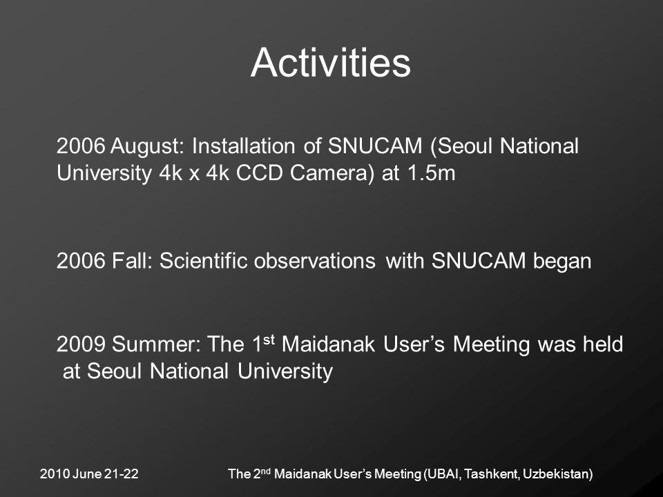 2010 June 21-22The 2 nd Maidanak User's Meeting (UBAI, Tashkent, Uzbekistan) Activities 2009 Summer: The 1 st Maidanak User's Meeting was held at Seou