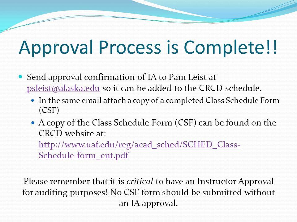 Approval Process is Complete!.