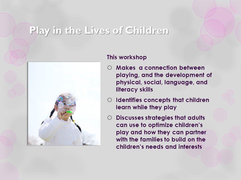 Learning Objectives  Identify elements that can be observed when children are engaged in play.