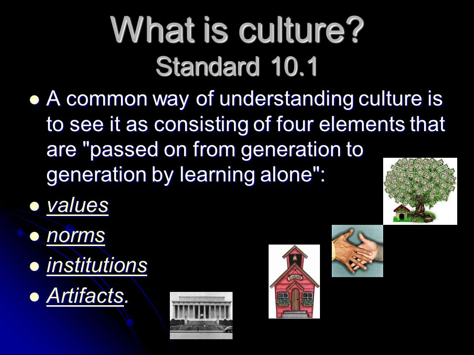 What is culture? Standard 10.1 A common way of understanding culture is to see it as consisting of four elements that are
