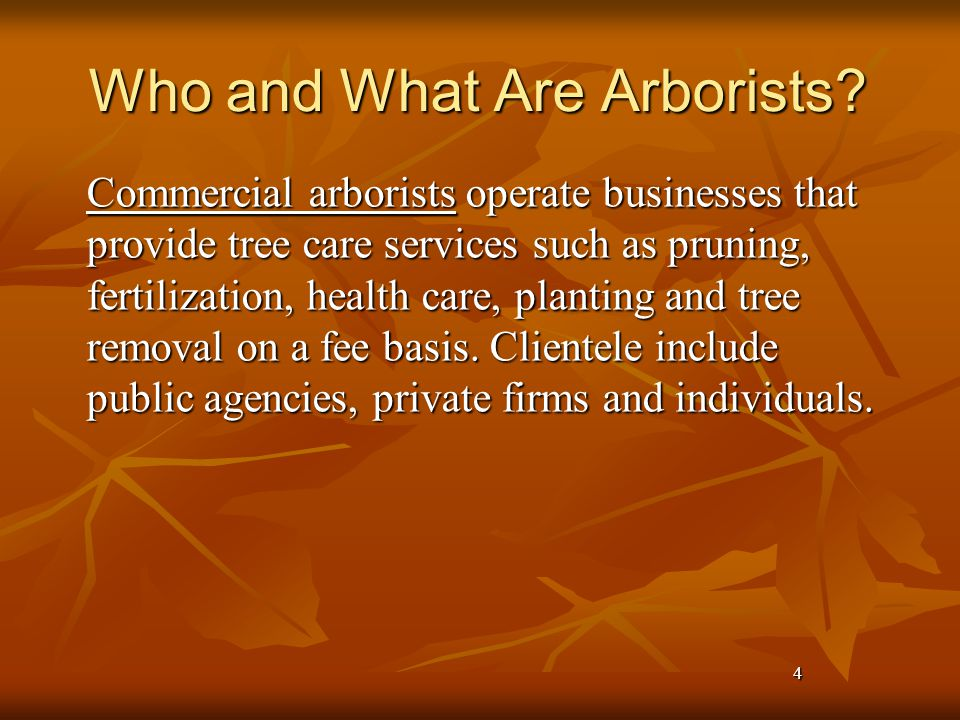 4 Who and What Are Arborists.