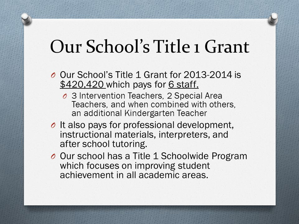 Our School's Title 1 Grant O Our School's Title 1 Grant for is $420,420 which pays for 6 staff.