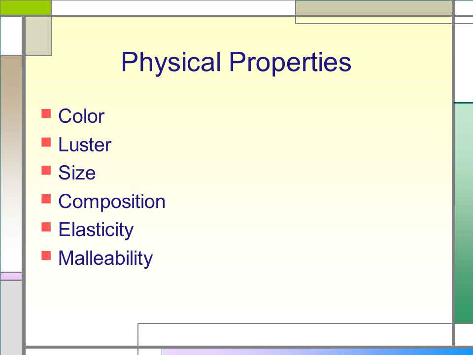 Physical Properties Volume Density Mass States of matter Thermal conductivity Solubility