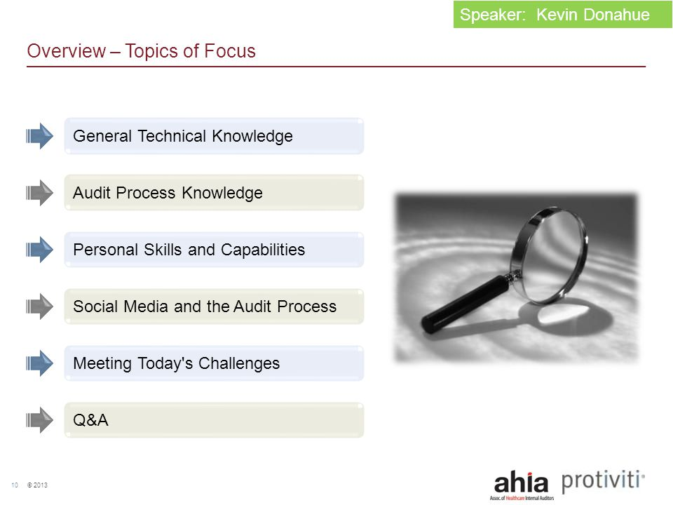 © 2013 10 Overview – Topics of Focus General Technical Knowledge Audit Process Knowledge Personal Skills and Capabilities Social Media and the Audit P