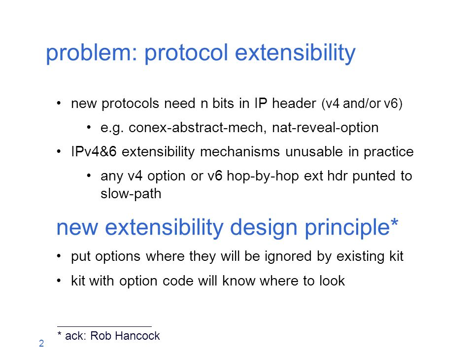 2 problem: protocol extensibility new protocols need n bits in IP header (v4 and/or v6) e.g.
