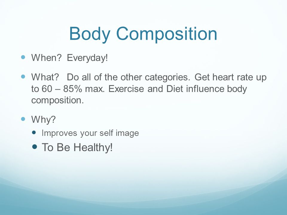 Body Composition When. Everyday. What. Do all of the other categories.