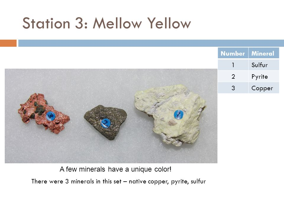 Station 3: Mellow Yellow There were 3 minerals in this set – native copper, pyrite, sulfur NumberMineral 1Sulfur 2Pyrite 3Copper A few minerals have a unique color!