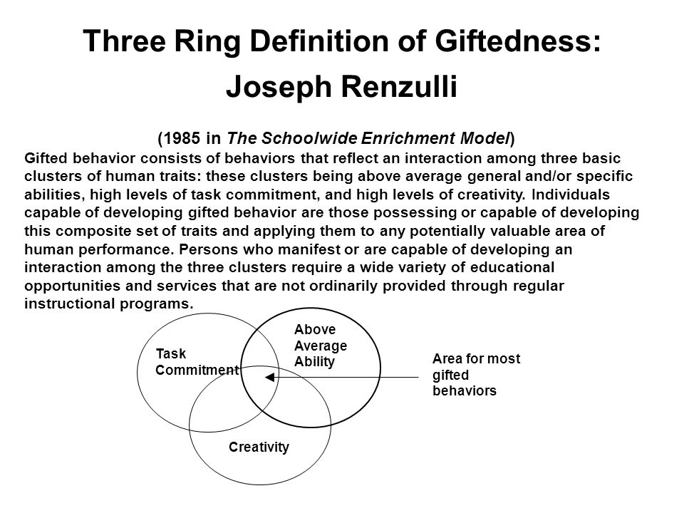 Three Ring Definition of Giftedness: Joseph Renzulli (1985 in The Schoolwide Enrichment Model) Gifted behavior consists of behaviors that reflect an interaction among three basic clusters of human traits: these clusters being above average general and/or specific abilities, high levels of task commitment, and high levels of creativity.