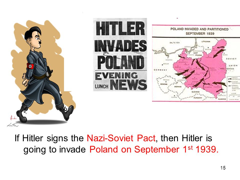 15 If Hitler signs the Nazi-Soviet Pact, then Hitler is going to invade Poland on September 1 st 1939.