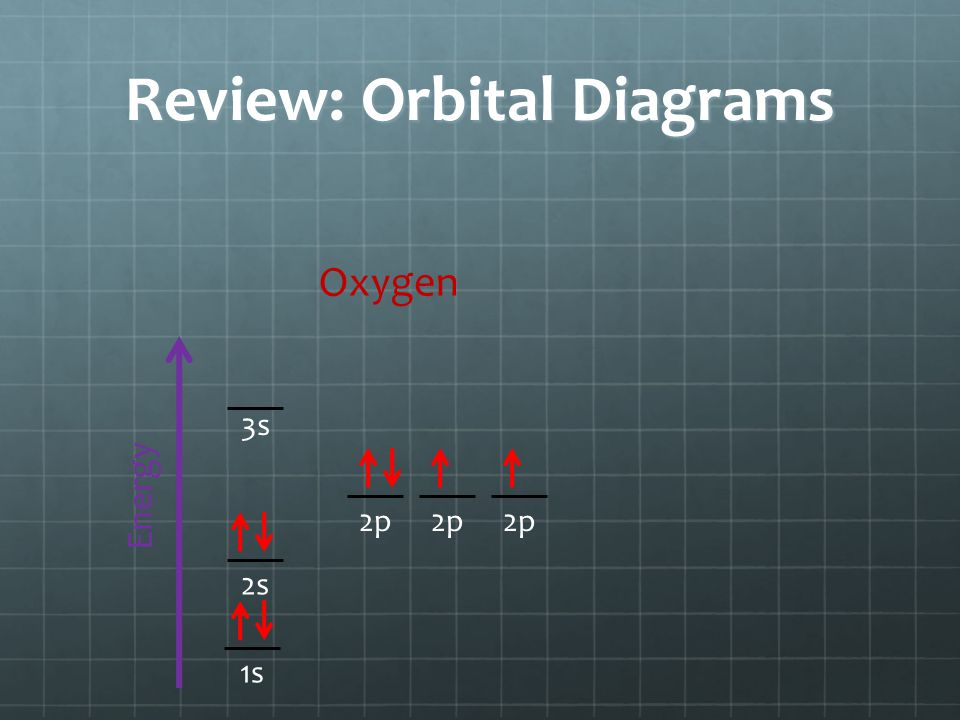 Review: Orbital Diagrams Energy 1s 3s 2p 2s Oxygen