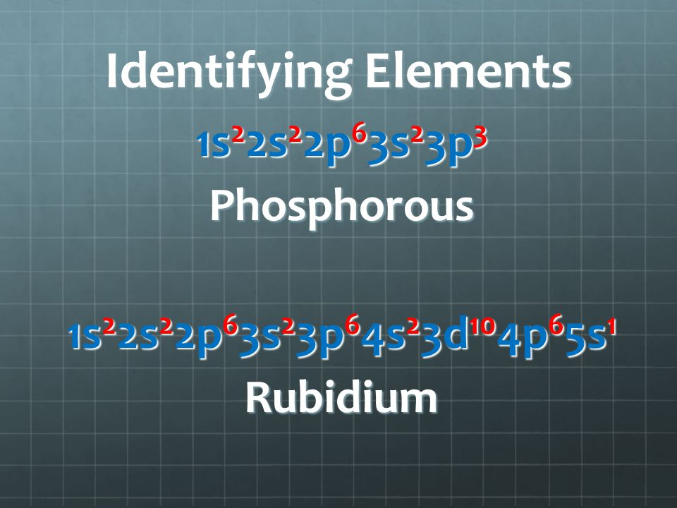 Identifying Elements 1s 2 2s 2 2p 6 3s 2 3p 3 Phosphorous 1s 2 2s 2 2p 6 3s 2 3p 6 4s 2 3d 10 4p 6 5s 1 Rubidium