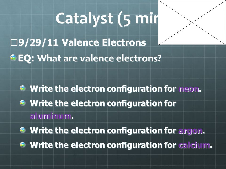 Catalyst (5 min)  9/29/11 Valence Electrons EQ: What are valence electrons.