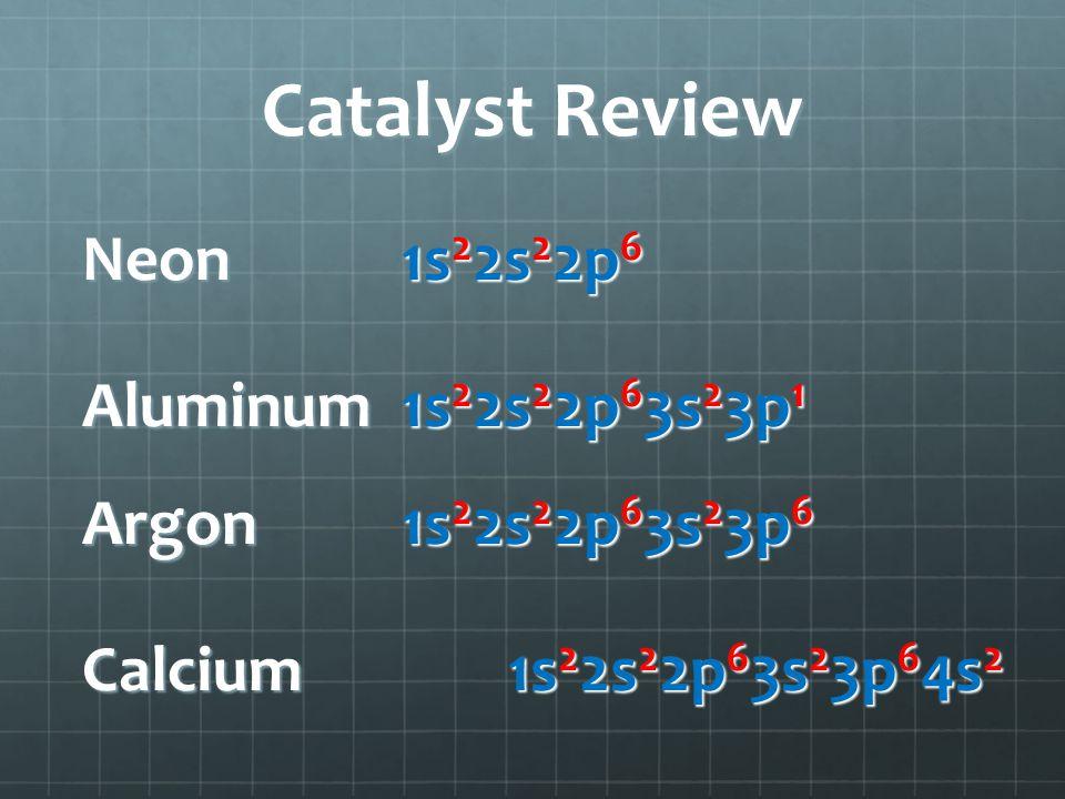 Catalyst Review Neon 1s 2 2s 2 2p 6 Aluminum1s 2 2s 2 2p 6 3s 2 3p 1 Argon1s 2 2s 2 2p 6 3s 2 3p 6 Calcium1s 2 2s 2 2p 6 3s 2 3p 6 4s 2