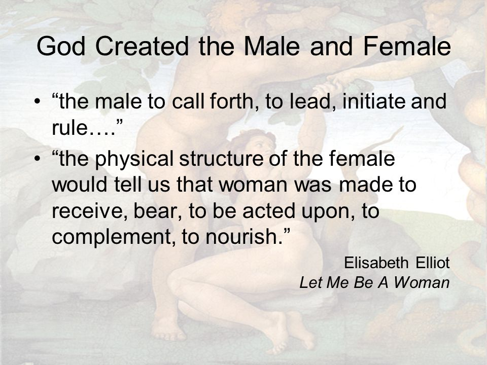 """God Created the Male and Female """"the male to call forth, to lead, initiate and rule…."""" """"the physical structure of the female would tell us that woman"""