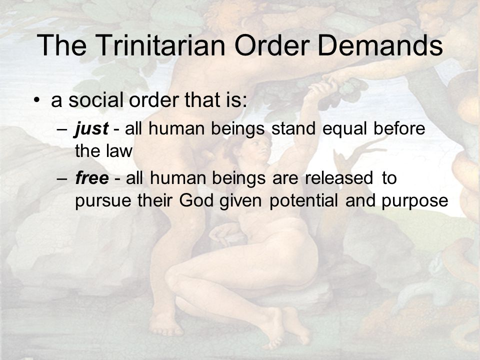 The Trinitarian Order Demands a social order that is: –just - all human beings stand equal before the law –free - all human beings are released to pursue their God given potential and purpose