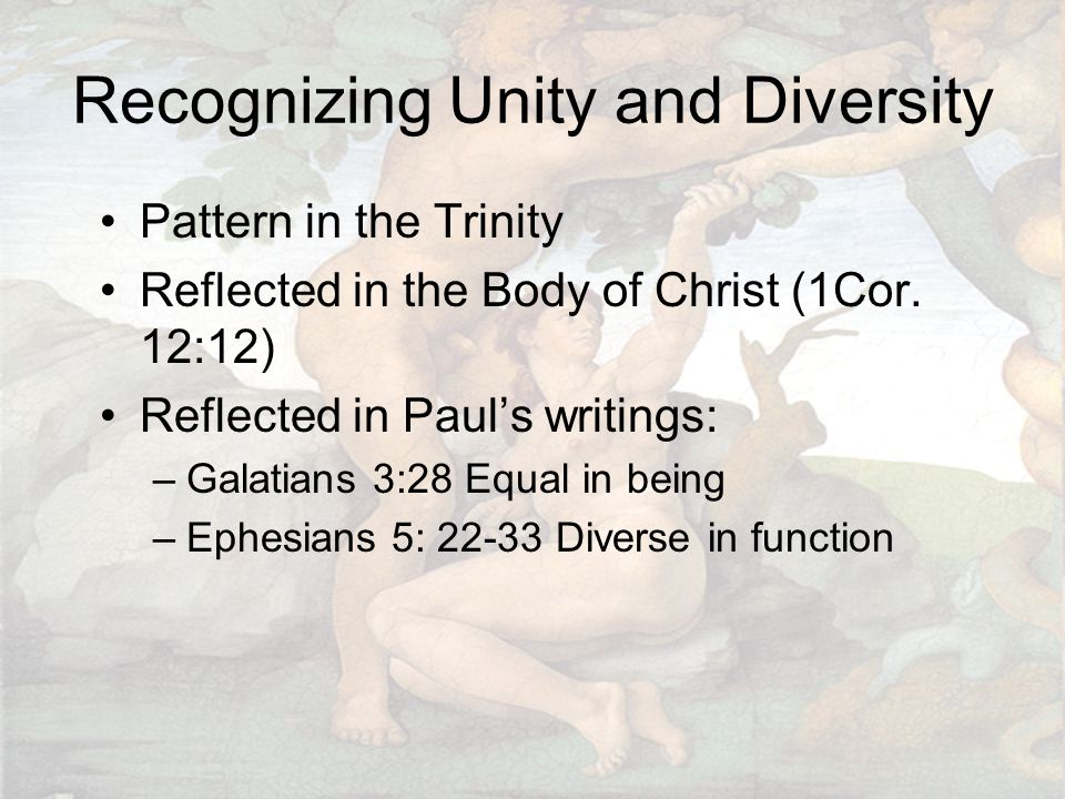Recognizing Unity and Diversity Pattern in the Trinity Reflected in the Body of Christ (1Cor. 12:12) Reflected in Paul's writings: –Galatians 3:28 Equ