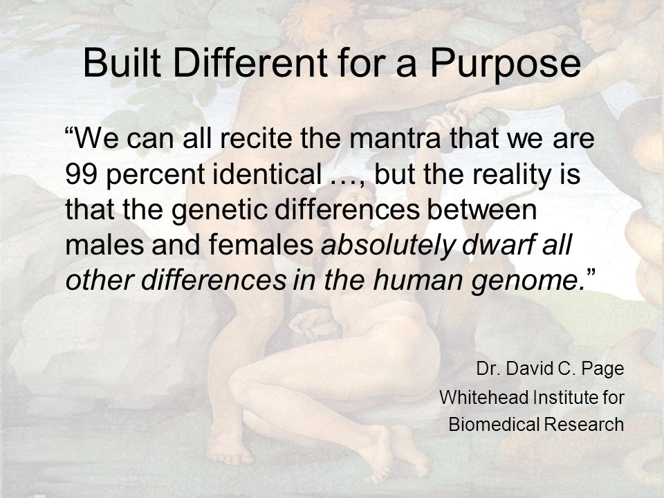 Built Different for a Purpose We can all recite the mantra that we are 99 percent identical …, but the reality is that the genetic differences between males and females absolutely dwarf all other differences in the human genome. Dr.