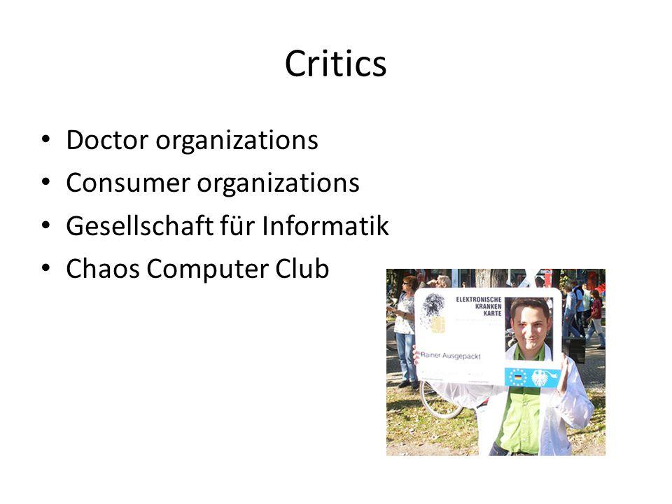 Critics Doctor organizations Consumer organizations Gesellschaft für Informatik Chaos Computer Club