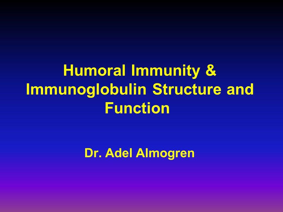 Humoral Immunity & Immunoglobulin Structure and Function Dr. Adel Almogren