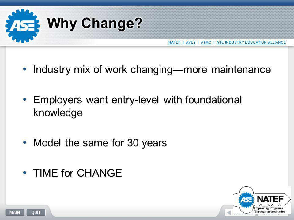 NATEF   AYES   ATMC   ASE INDUSTRY EDUCATION ALLIANCE Industry mix of work changing—more maintenance Employers want entry-level with foundational know