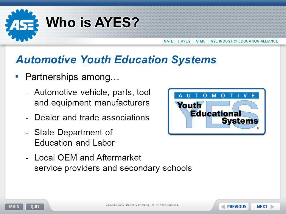 NATEF   AYES   ATMC   ASE INDUSTRY EDUCATION ALLIANCE Partnerships among…  Automotive vehicle, parts, tool and equipment manufacturers  Dealer and t