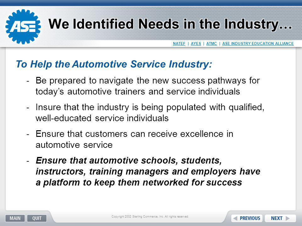 NATEF | AYES | ATMC | ASE INDUSTRY EDUCATION ALLIANCE Council of automotive training professionals Founded in 1984 by original equipment and aftermarket automotive training professionals for the exchange of training ideas and strategies Members use networking and exchange of ideas to improve training techniques and stay current The Automotive Training Managers Council Copyright 2002 Sterling Commerce, Inc.