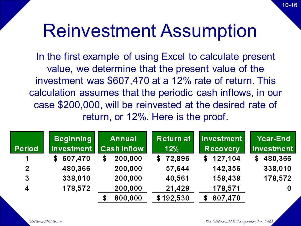 The McGraw-Hill Companies, Inc. 2008McGraw-Hill/Irwin 10-16 Reinvestment Assumption In the first example of using Excel to calculate present value, we