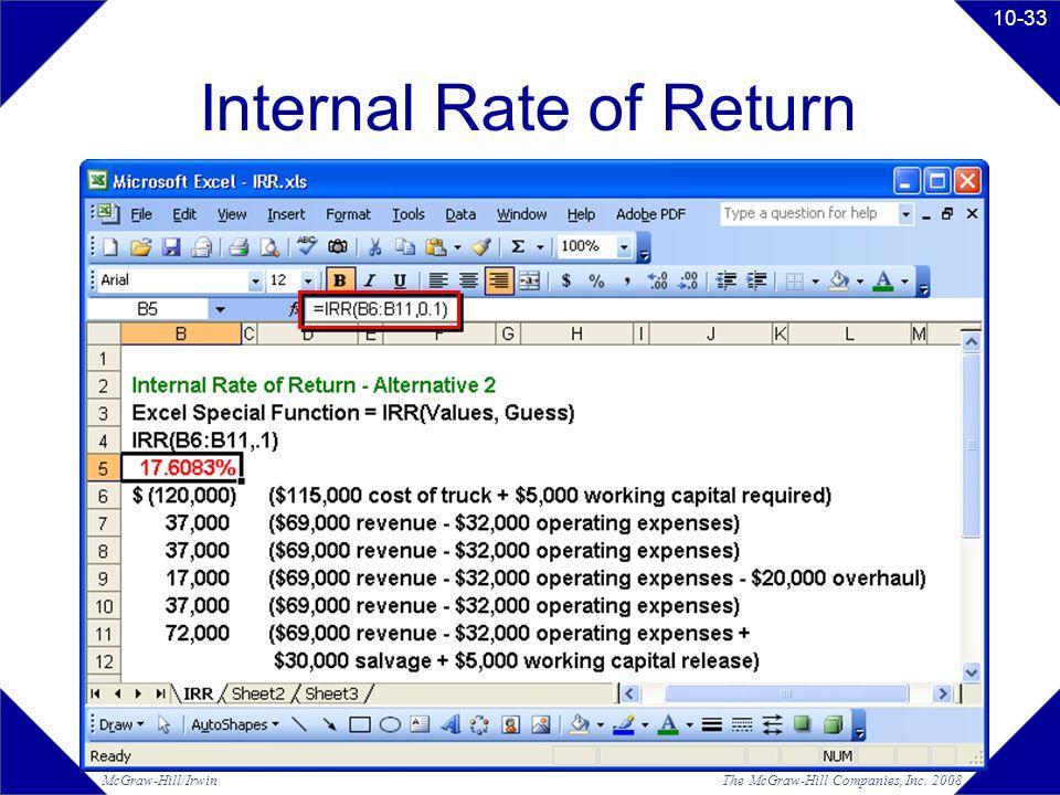 The McGraw-Hill Companies, Inc. 2008McGraw-Hill/Irwin 10-33 Internal Rate of Return