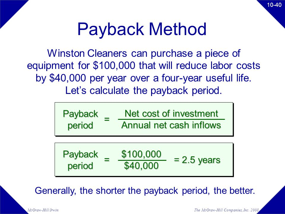 The McGraw-Hill Companies, Inc. 2008McGraw-Hill/Irwin 10-40 Payback Method Winston Cleaners can purchase a piece of equipment for $100,000 that will r