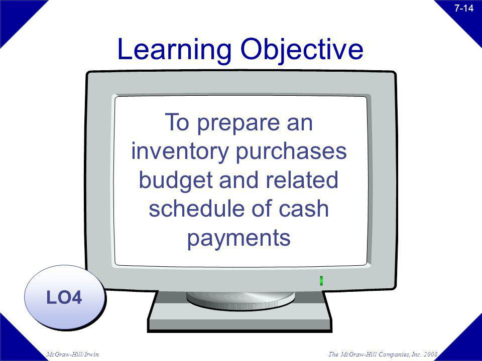 The McGraw-Hill Companies, Inc. 2008McGraw-Hill/Irwin 7-14 Learning Objective LO4 To prepare an inventory purchases budget and related schedule of cas
