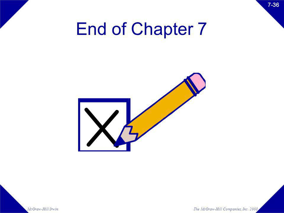 The McGraw-Hill Companies, Inc. 2008McGraw-Hill/Irwin 7-36 End of Chapter 7