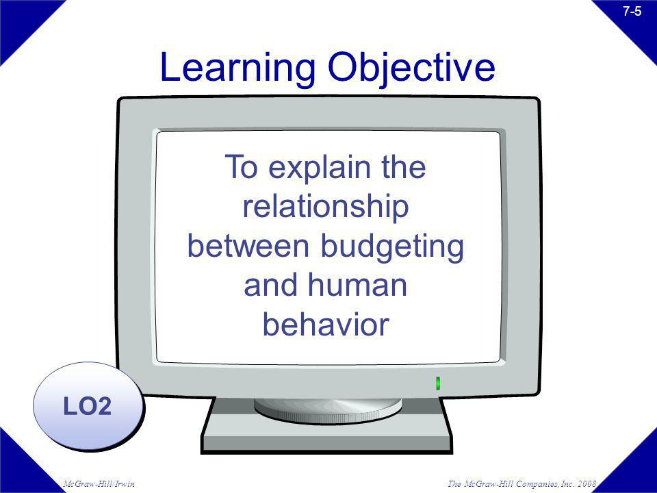 The McGraw-Hill Companies, Inc. 2008McGraw-Hill/Irwin 7-5 Learning Objective LO2 To explain the relationship between budgeting and human behavior