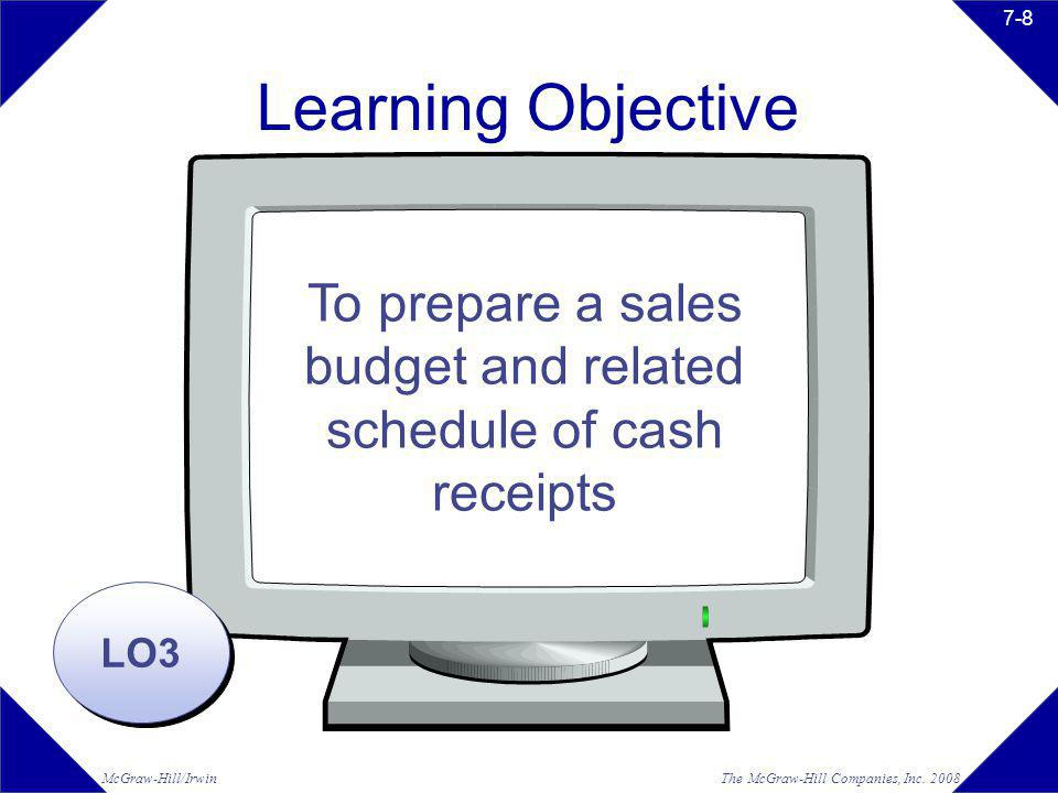 The McGraw-Hill Companies, Inc. 2008McGraw-Hill/Irwin 7-8 Learning Objective LO3 To prepare a sales budget and related schedule of cash receipts