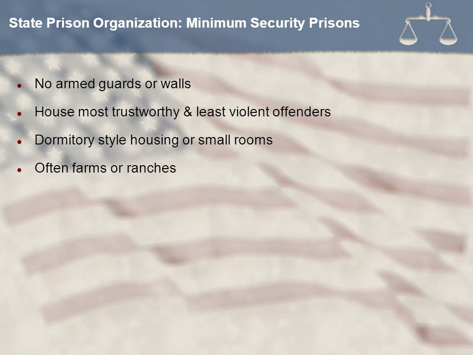 No armed guards or walls House most trustworthy & least violent offenders Dormitory style housing or small rooms Often farms or ranches State Prison Organization: Minimum Security Prisons