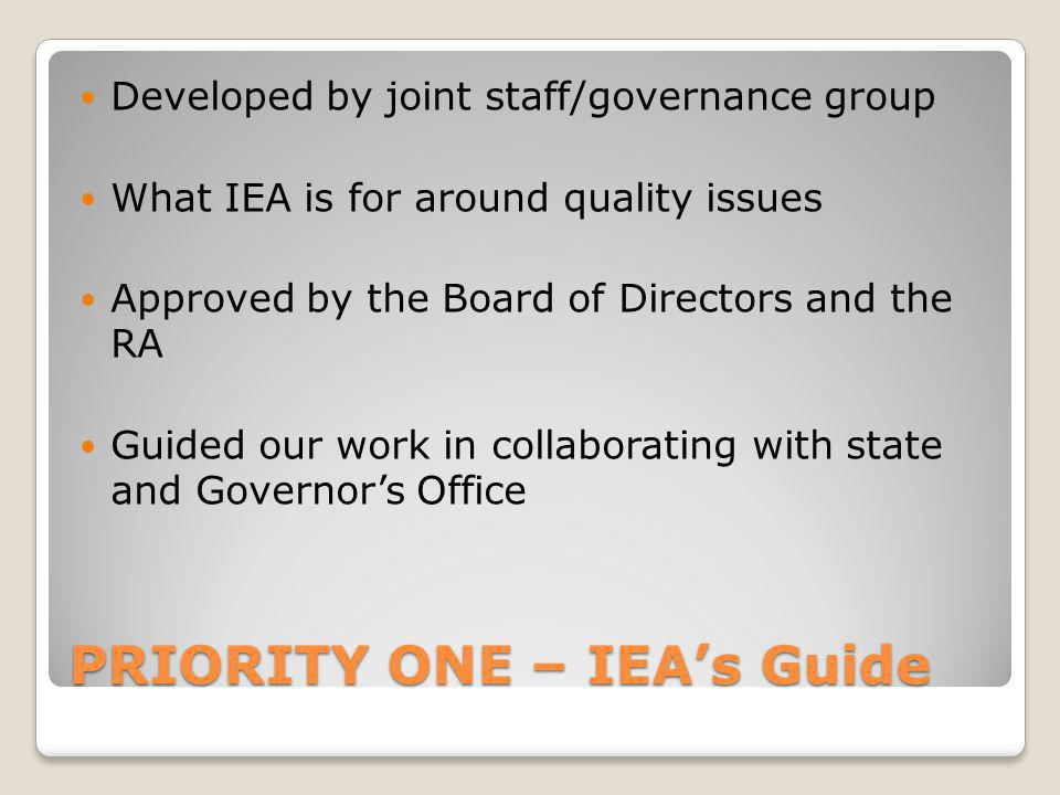PRIORITY ONE – IEA's Guide Developed by joint staff/governance group What IEA is for around quality issues Approved by the Board of Directors and the RA Guided our work in collaborating with state and Governor's Office