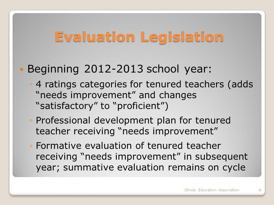 Evaluation Legislation Evaluation Legislation Beginning 2012-2013 school year: ◦4 ratings categories for tenured teachers (adds needs improvement and changes satisfactory to proficient ) ◦Professional development plan for tenured teacher receiving needs improvement ◦Formative evaluation of tenured teacher receiving needs improvement in subsequent year; summative evaluation remains on cycle Illinois Education Association8