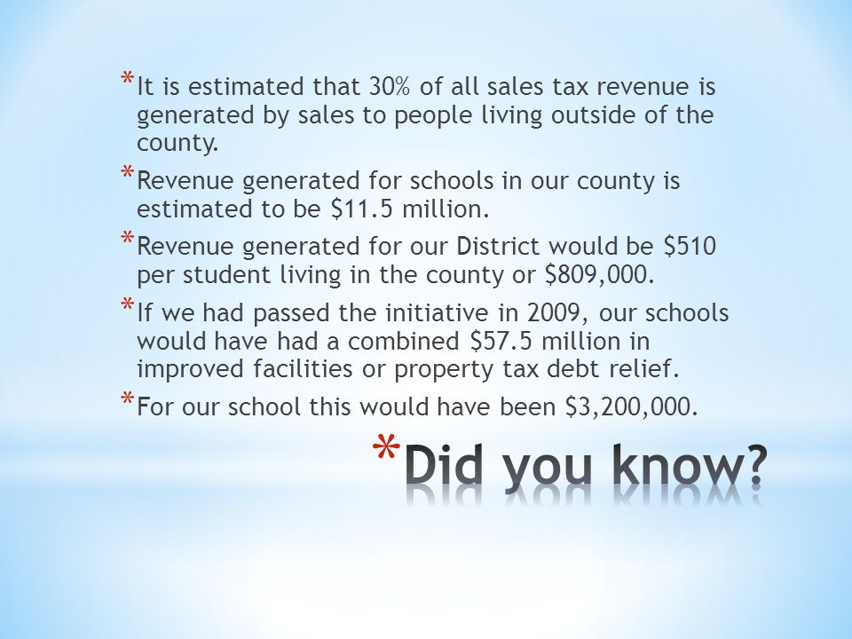 * It is estimated that 30% of all sales tax revenue is generated by sales to people living outside of the county.