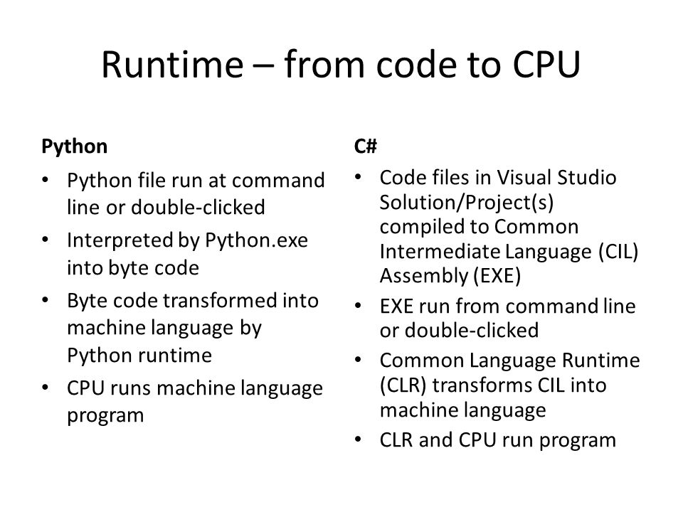 Runtime – from code to CPU Python Python file run at command line or double-clicked Interpreted by Python.exe into byte code Byte code transformed int