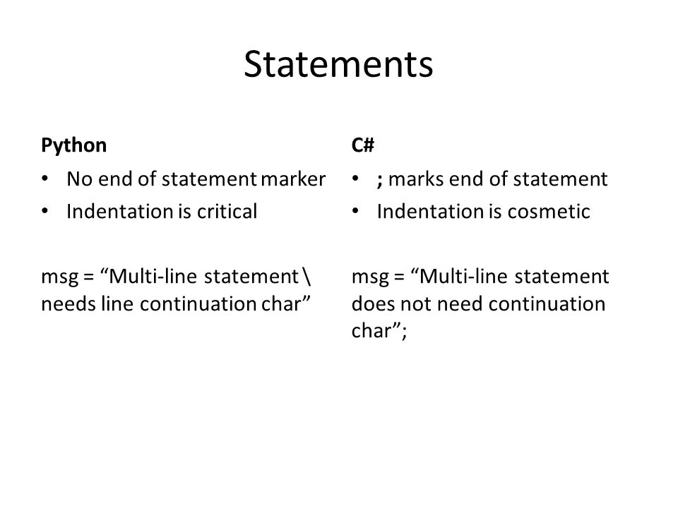 """Statements Python No end of statement marker Indentation is critical msg = """"Multi-line statement \ needs line continuation char"""" C# ; marks end of sta"""